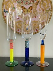 Czech Republic Atelier Morava Signed Contemporary Art Glass Goblet Glasses