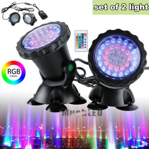 2x Submersible 36 LED RGB Pond Spot Lights Underwater Pool Fountain IP68 +Remote