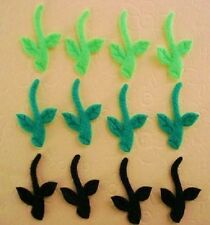 60 Felt Green+Black Flower Stem Vine Leaves Applique/Craft/Floral Decoration H66