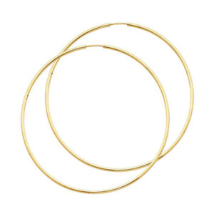 c767a0e7d Real 14K Yellow Gold Classic Simple Plain Hoop Earrings 1.5 MM Kids ...