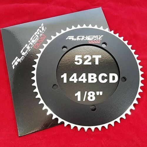 "BLACK 144 mm BCD Track 1//8/"" MOJO Alchemy Fixed Gear 52T Chainring 7075-T6"