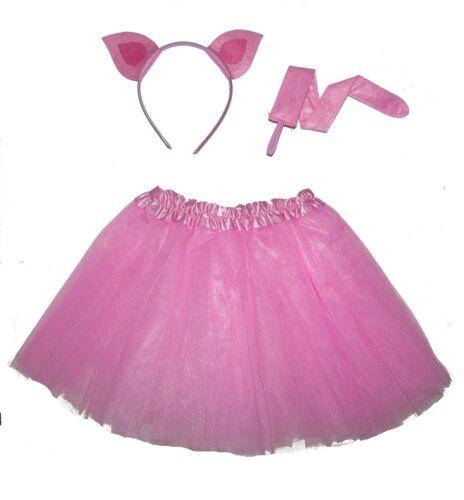 KIDS PIG TUTU COSTUME WITH EARS TAIL ANIMAL DANCE DRESS SKIRT SET HALLOWEEN UK
