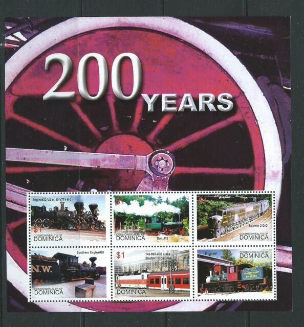DOMINICA SGMS3395c 2004  STEAM TRAINS SHEETLET  MNH