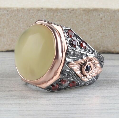 Turkish Handmade 925 Sterling Silver Drop Amber stone Mens mans ring ALL SİZE us