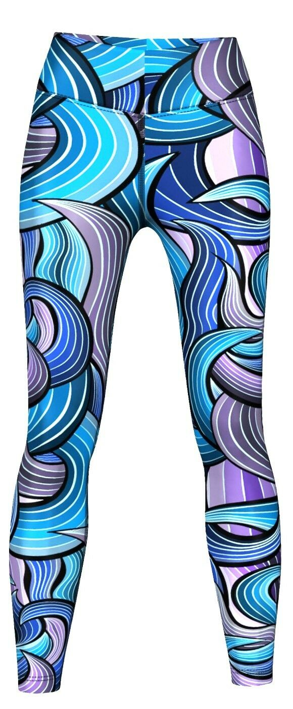 Maze Leggings sehr dehnbar für Sport, Gymnastik, Training & Fashion purple blue