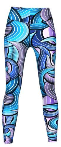 Maze Leggings sehr dehnbar für Sport Training /& Fashion Lila//Blau Gymnastik