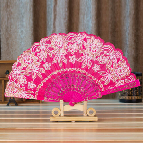 Chinese Style Fan Dance Wedding Party Lace Silk Folding Hand Held Flower Fan UK