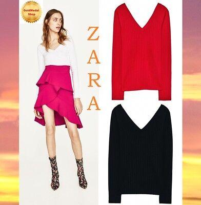 580d06bdea ZARA V-Neck Ribbed T-Shirt Long Sleeve Red White Black New Top Sizes ...
