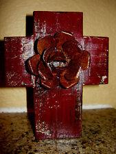 Wall Wood Cross with Iron Rose Original Old World Rustic Elegant Fleur de Lis