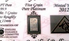 (ACB)  5GRAIN SOLID Platinum BULLION MINTED BAR 99.9  Pure PT With COA
