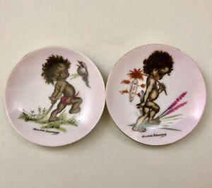 Pair-BROWNIE-DOWNING-Miniature-TINKA-Plates-Aboriginalia