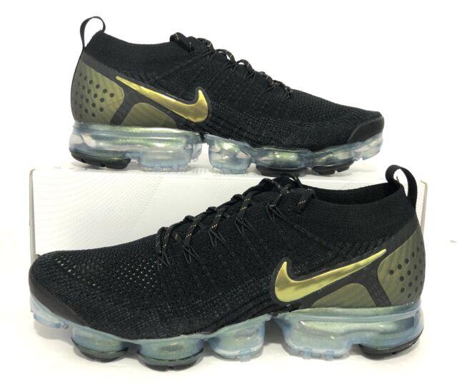 Nike Air Vapormax Flyknit 2 Black Gold Running Shoes Men's Size 10