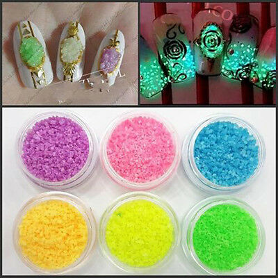 7pc Assorted Glitter Luminous Stone Nail Art Stickers Tips Decor Manicure Beauty