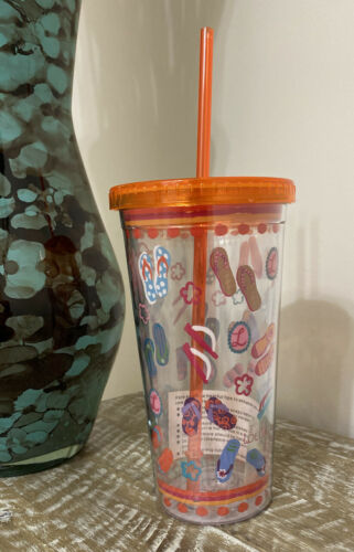 NEW LOLITA Acrylic Double Wall Tumbler W//Straw /&Lid 22oz Flip Flops Beach Cup