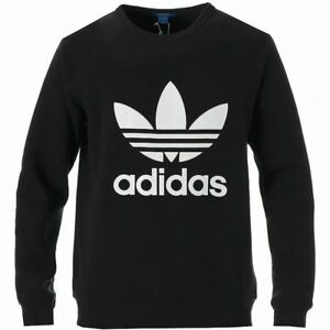 Details about ADIDAS TREFOIL CREW NECK SWEATSHIRT Black-White logo sweater  jumper new 0117aee86f52