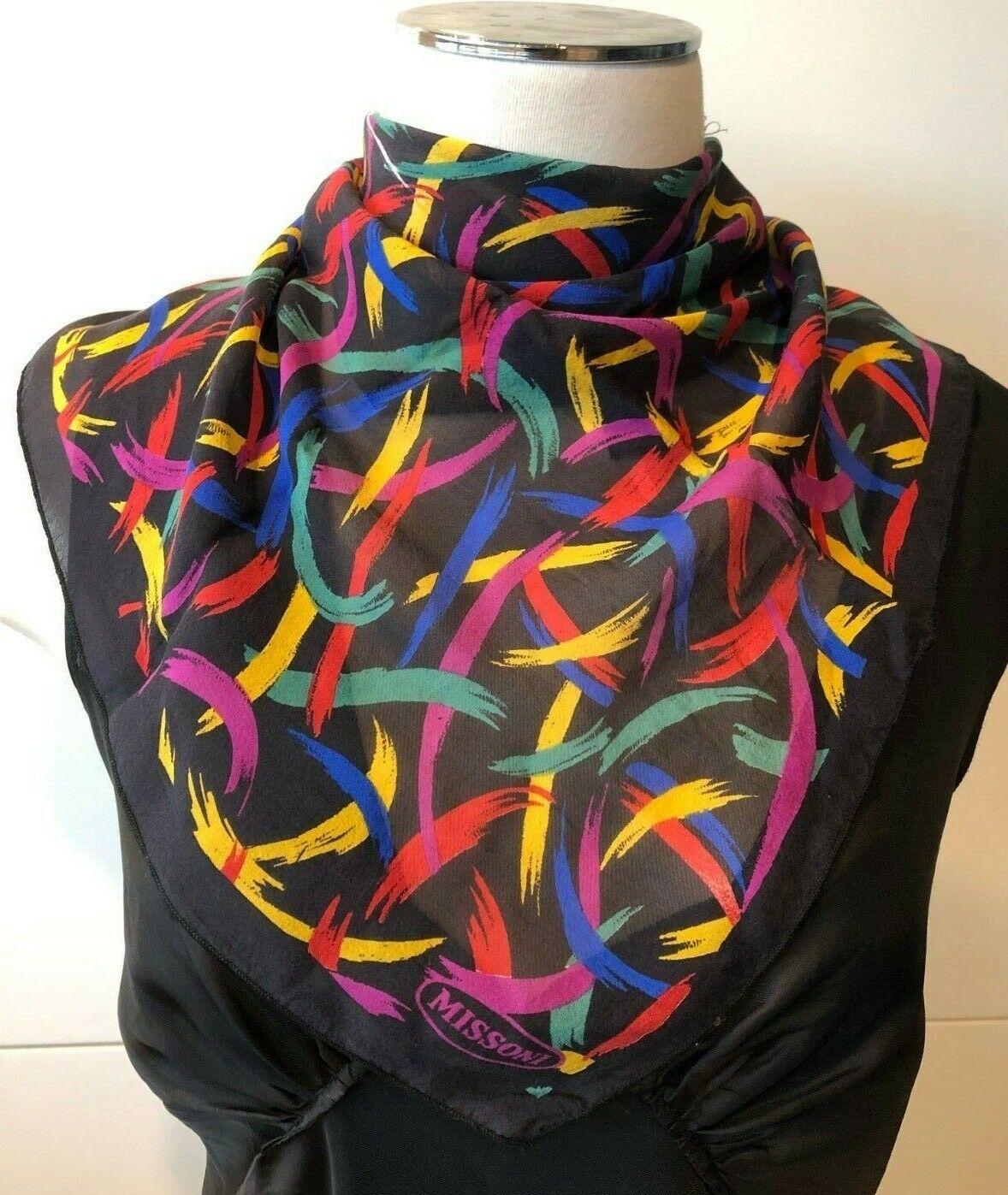 MISSONI Italy Silk Chiffon Black & Brights