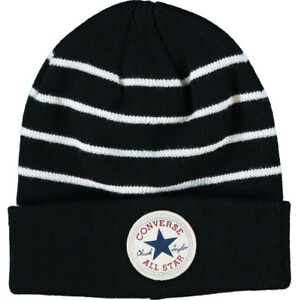 Converse Beanie Hat Boys Age 4 to 7 Years Black With White Stripe ... 9fe88889dd5