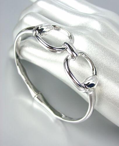 Nouveau Designer Argent Mors de Cheval Horse bit Boucle Fermoir Magnétique Bracelet Jonc