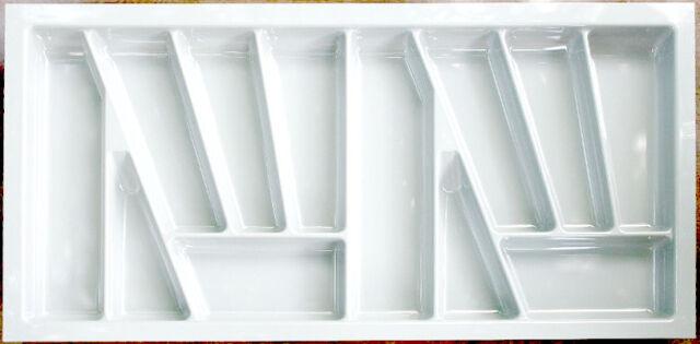 White Cutlery Tray Box Insert Cabinet W:30-90cm Kitchen Drawer Storage  Organiser