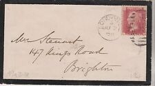 GB QV 1868 MOURNING COVER PENNY RED 'LH' PLATE 104 TO BRIGHTON DT 02ND JUNE 1968