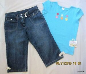 Details about Gymboree Spring Rainbow Denim Crop Capri Pants Blue Flower  Top Shirt 10 Plus 10 944ab73963b
