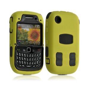 Housse-etui-coque-pour-Blackberry-Curve-8520-couleur-jaune-Film-de-protection