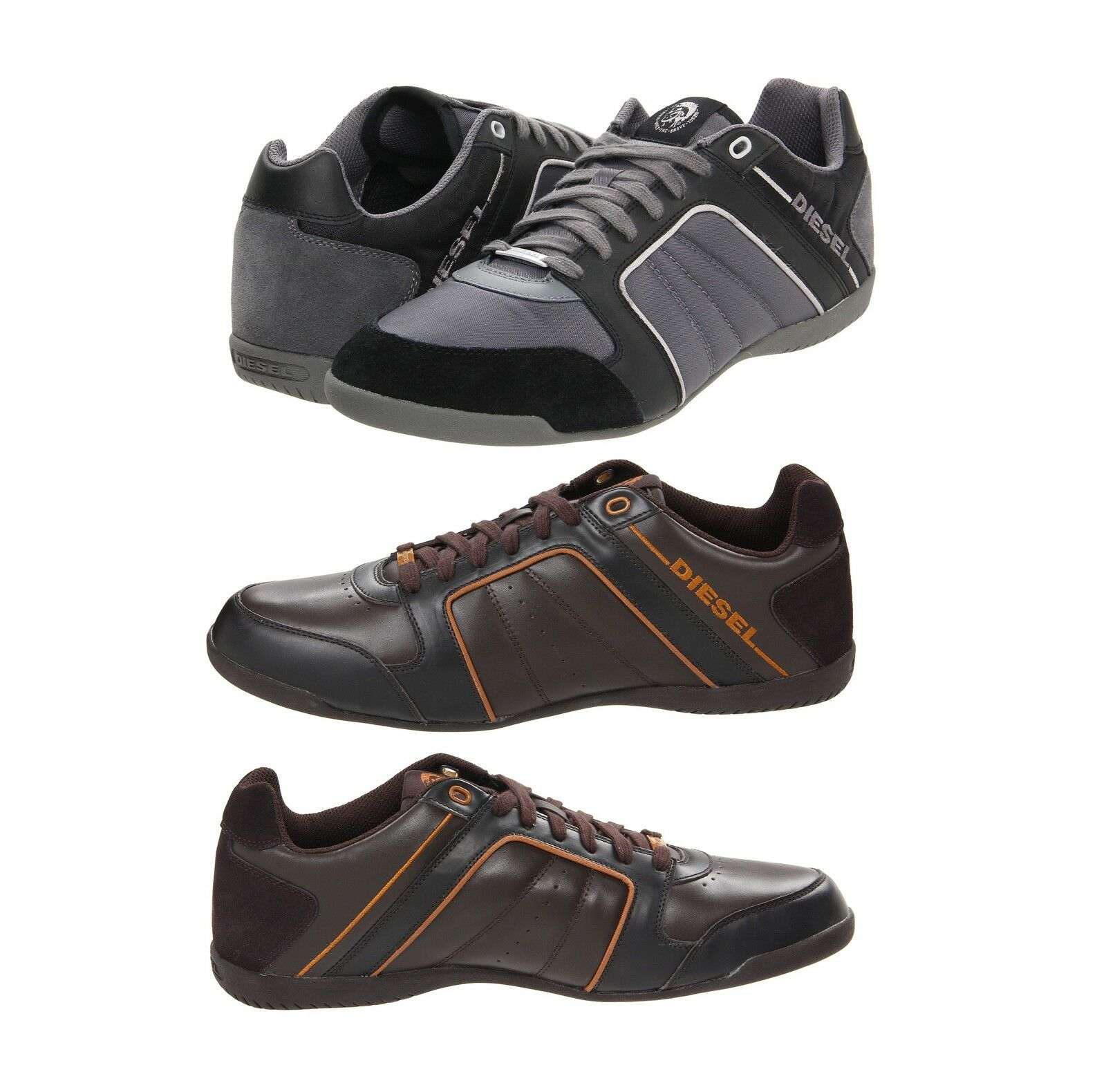 DIESEL Fashion Men's Leather shoes Casual Lace Up Sneakers Sports HURRIKANE-12
