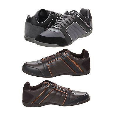 diesel fashion men's leather shoes casual lace up sneakers