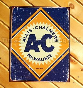 Allis Chalmers Milwaukee TIN SIGN tractor farm logo rustic vtg metal decor 1503