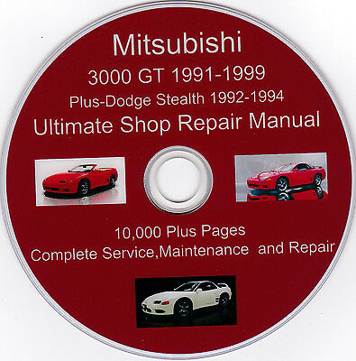 Mitsubishi 3000 GT 1991 1999 ULTIMATE SERVICE SHOP Repair MAINTENANCE MANUAL EBay