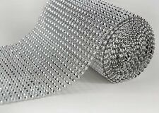 "4.75""x10 Yards Silver Mesh Roll Sparkle Wrap Diamond Rhinestone Crystal Ribbon"