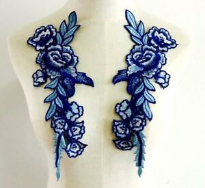Embroidered Floral Applique Mirror Pair Blue Clothing Patch