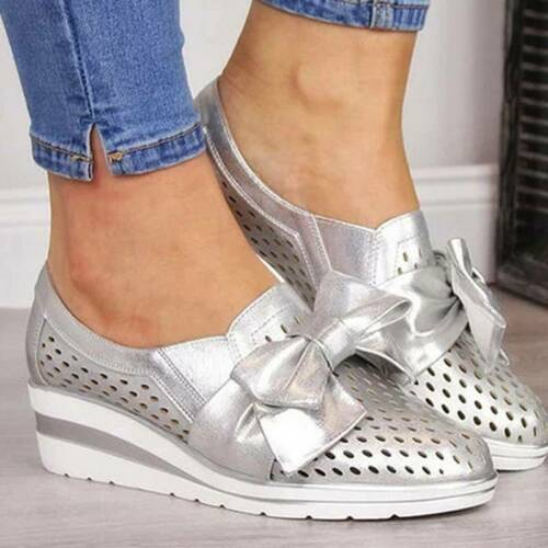 Womens Breathable Wedges Heels Bow-knot Trainers Ladies Walking Shoes Sneakers J