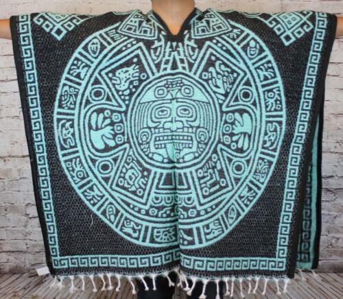 Aqua Aztec Calendar Mexican Poncho Gaban Blanket Cape Ruana Traditional Tribal