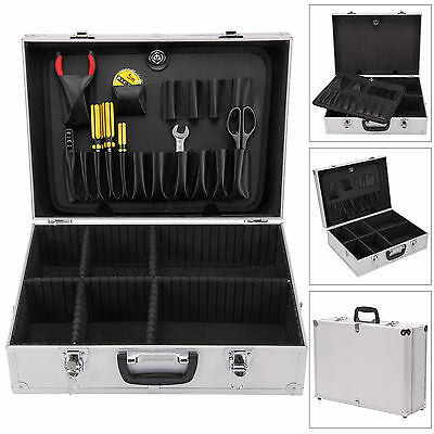 Electricians Aluminium Flight Case Toolbox Tool Organiser Lockable Storage Box