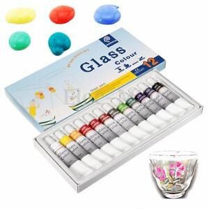 Stain-Glass-Paint-12-color-tubes-set-12ml-Glass-Non-Toxic-Painting-kit