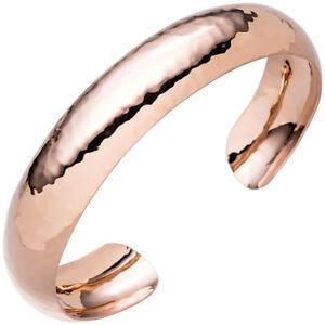 Fine Jewelry Expressive Armilla Apertoaperto Bracciale In Argento 925 Oro Rosso Placcato Oro Martellato
