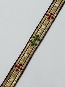 Vintage-Vestment-Sastreria-Rojo-Verde-en-Oro-1-3cm-de-Recorte-Silky-4-6m-Lote