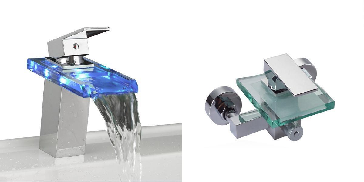 LED Wasserfall Glas Armatur und Wannen Armatur   Wasserhahn   Badewanne   Set