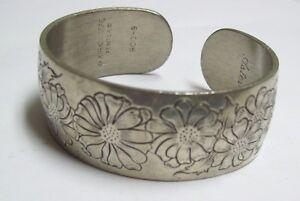 Details About Vintage Kirk Stieff Pewter Cuff Bracelet Aster