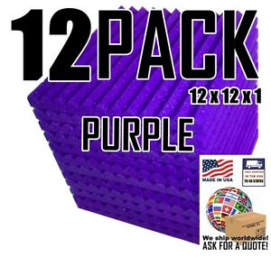 Acoustic-Foam-Purple-12-Pack-Wedge-Absorption-Panels-12x12x1-034-tiles-for-Studio