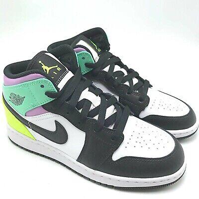Details about Nike Air Jordan 1 MID Pastel Black Toe (GS) Youth shoes 554725-175 sz 4Y-7Y