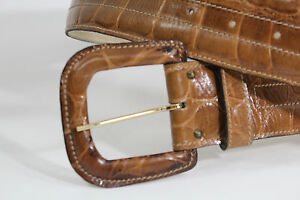 Cocodile-Alligator-Pattern-Tan-Leather-Anne-Klein-Belt-With-Covered-Buckle-Sz-S