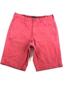 J-Crew-Rivington-Red-100-Cotton-Flat-Front-Men-039-s-Shorts-Size-30x10-034