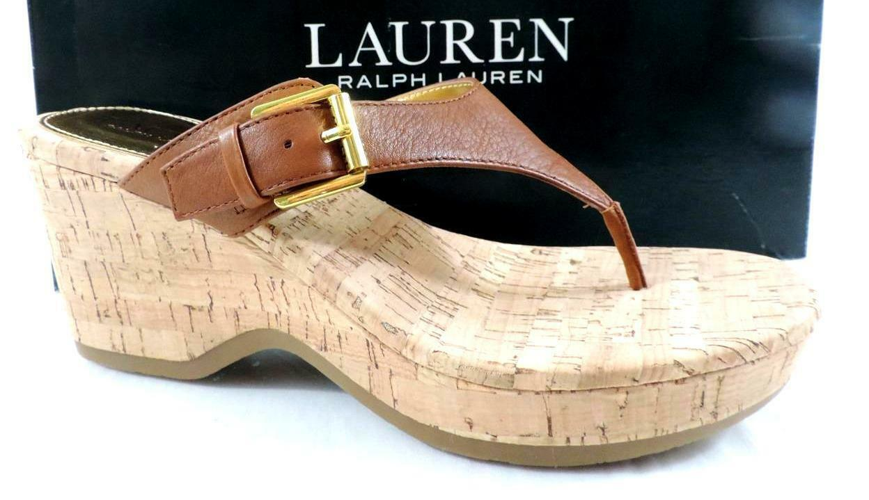 Ralph Lauren Oralee Platform Wedge Thong Sandals Cork Leather Polo Tan Size 6
