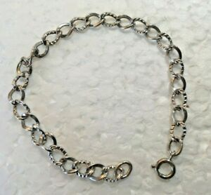 Vtg-Petite-Solid-Sterling-Silver-CHARM-CHAIN-7-in-034-BRACELET-925-etched-Twist