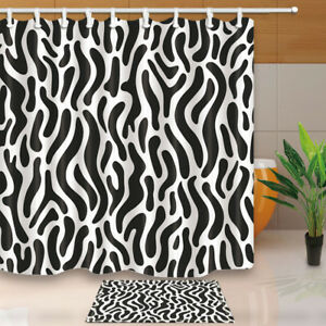 Image Is Loading Black And White Zebra Print Shower Curtain Home