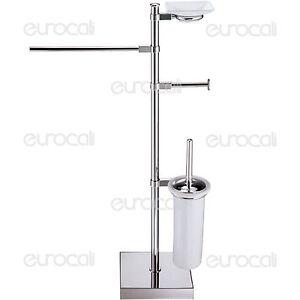 Piantana porta asciugamani sapone rotolo scopino accessori arredo bagno pt43s ebay - Porta scopino bagno ...