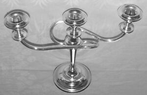 Contemporary-Silver-Plated-3-Branch-Candelabra-Adam-Style-Super-Shinny-Condition
