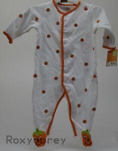 89c494094 Halloween Infant Carter s White Orange Pumpkin Sleeper Size 3 months ...